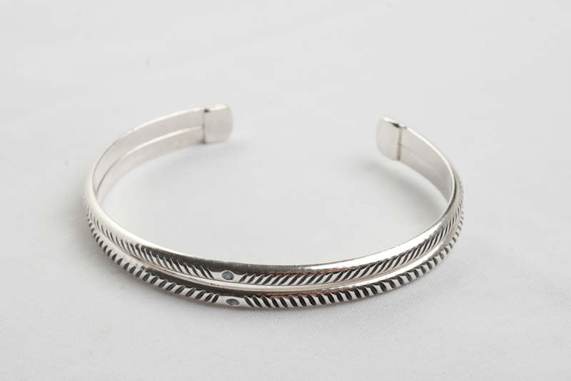 Double band cuff bracelet in sterling silver