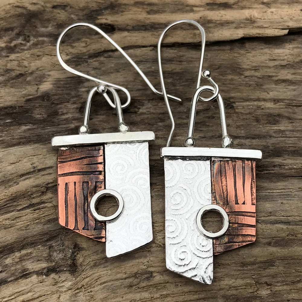 copper and sterling silver earrings