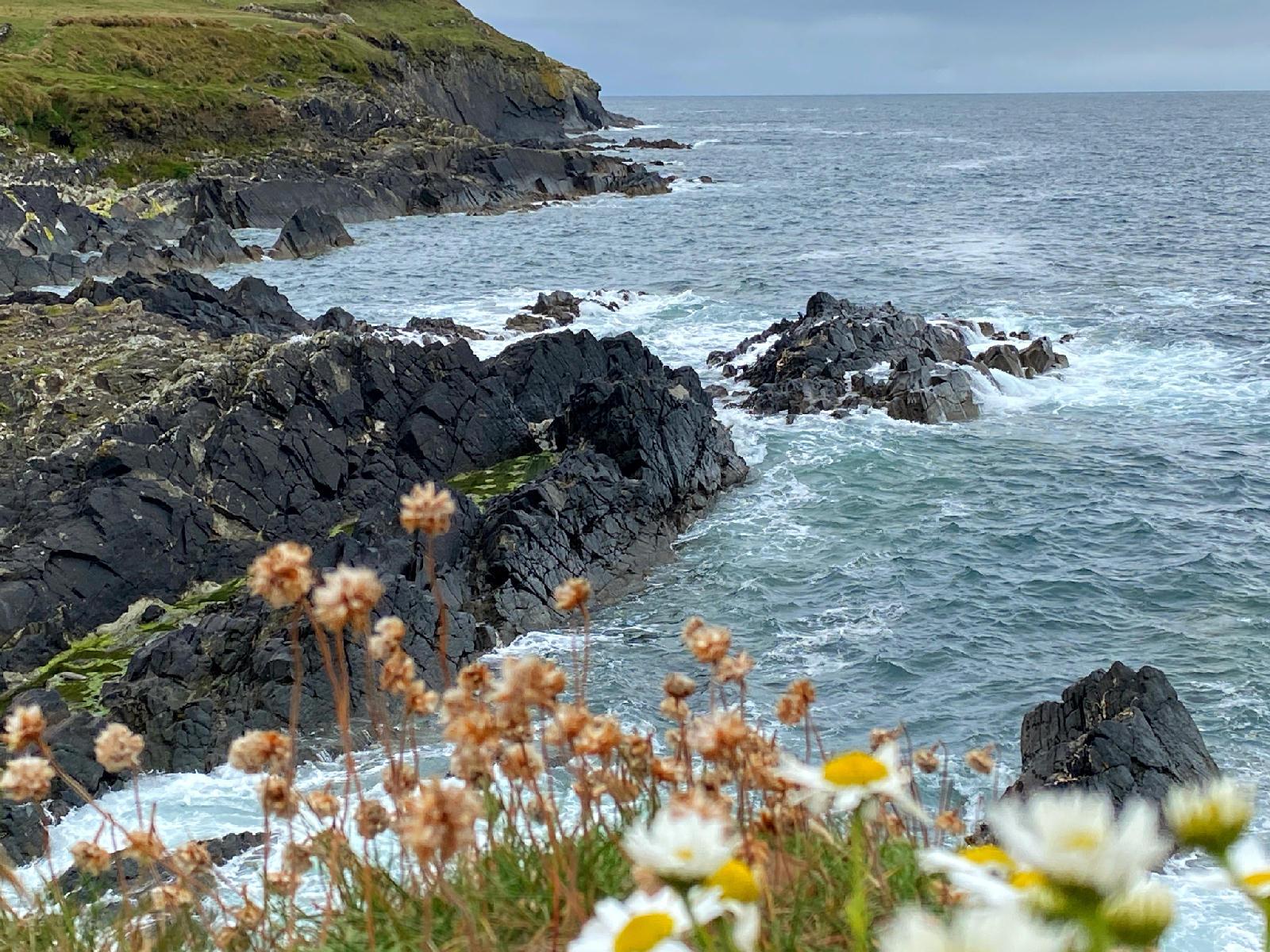 waves crashing on rocks west cork