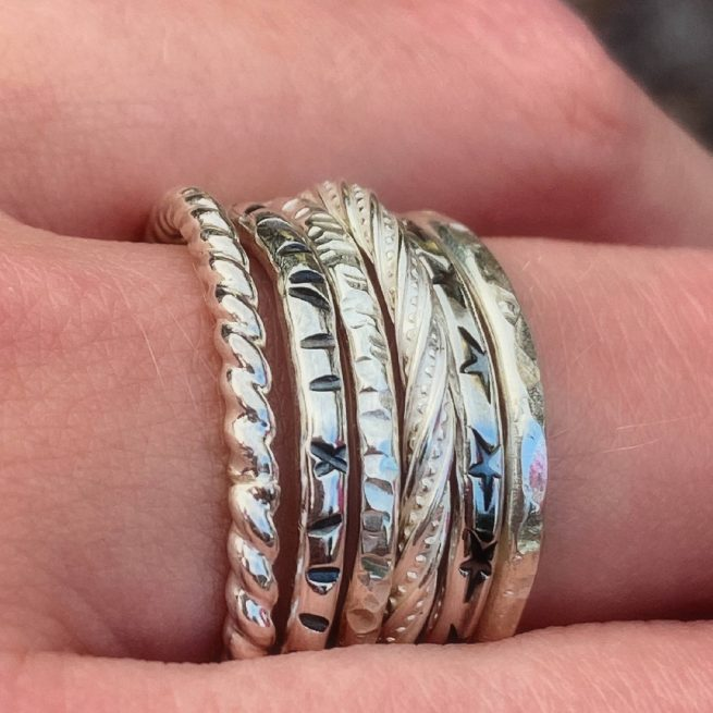sterling silver stacking rings modelled