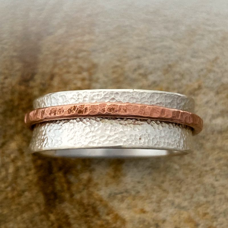 handmade sterling silver spinner ring - 8mm width