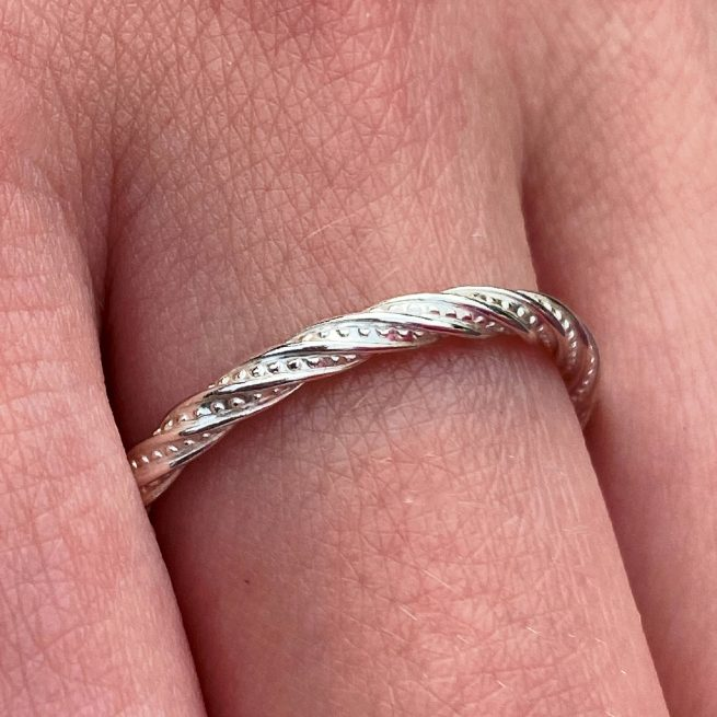 sterling silver stacking ring dazzle design modelled