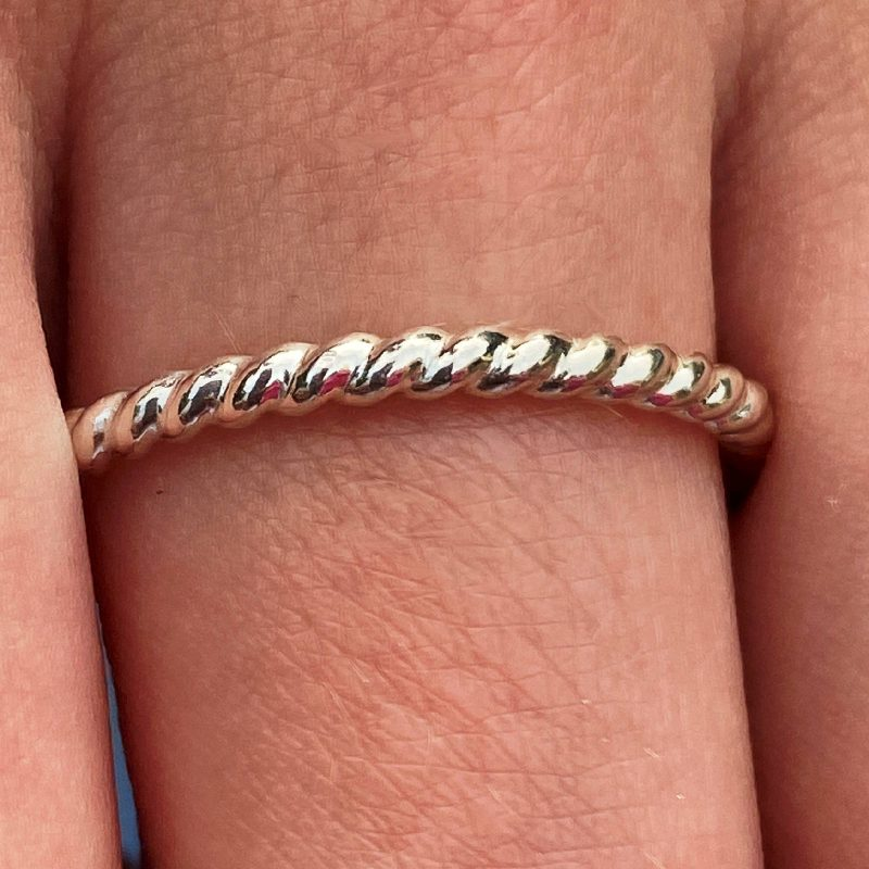 sterling silver stacking ring twisted design modelled